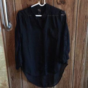 Sexy Sheer Long Black Blouse